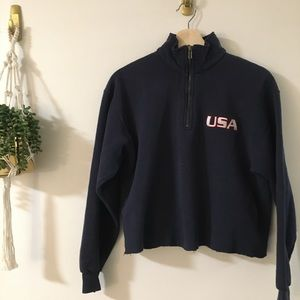 Lee Tops - Cropped Half Zip Sweatshirt